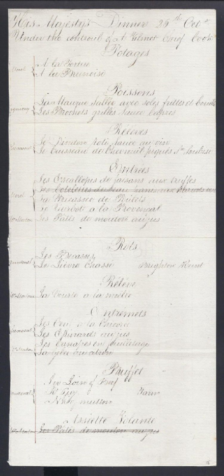 Rare Georgian Handwritten Royal Menu for King George IV Chef Armand Vilmet 1826